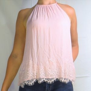 Lacy Light Pink High Neck/Halter Tank Top